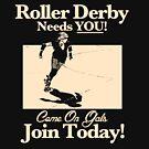 Roller Girl Recruitment Poster (Vintage Black) by John Perlock