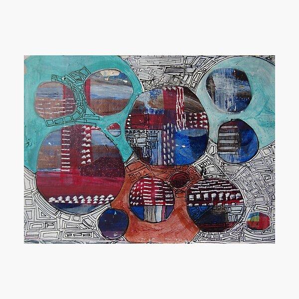 Mixed Media Art Design - Circles  Photographic Print