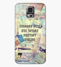 Funda/vinilo para Samsung Galaxy Adventure Travel Quote with travel themed vintage maps and iconic landmarks