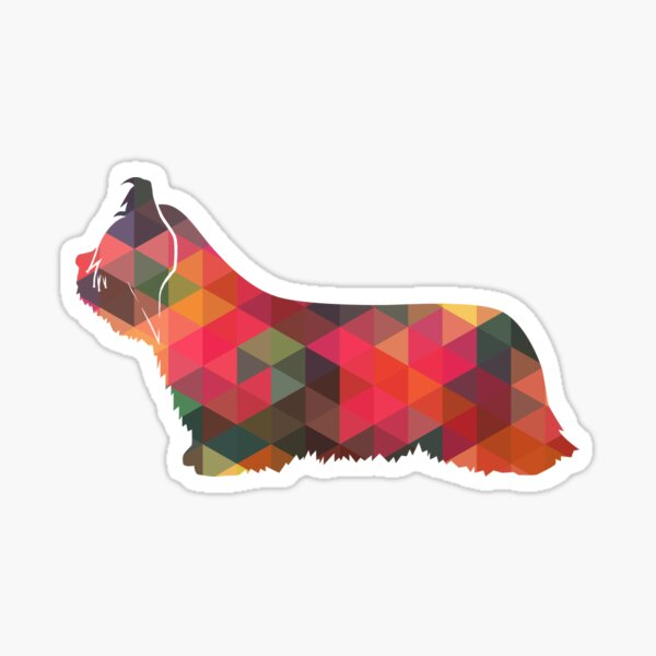 Skye Terrier Dog Colorful Geometric Silhouette Multi Sticker