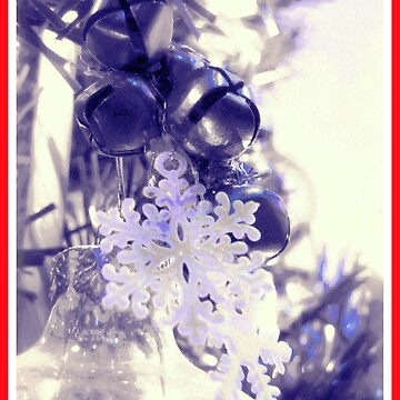 Snow Flakes and Bells Ornaments (Red Border) by treolson