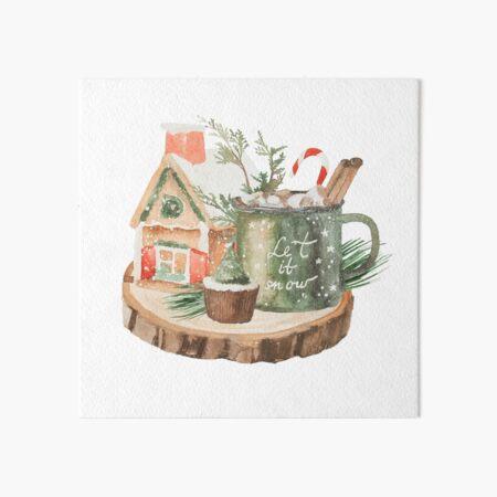 winter treats hot chocolate and gingerbread Art Board Print