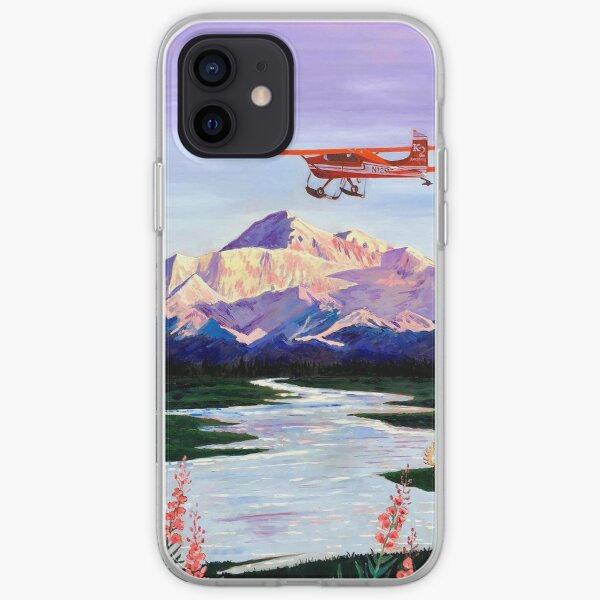 Denali Mountain Painting, K2 Aviation, Living Room Painting, Alaska Mountain, Gift for Pilot, Scott Clendaniel, Alaska Aviation, Mt McKinley iPhone Soft Case