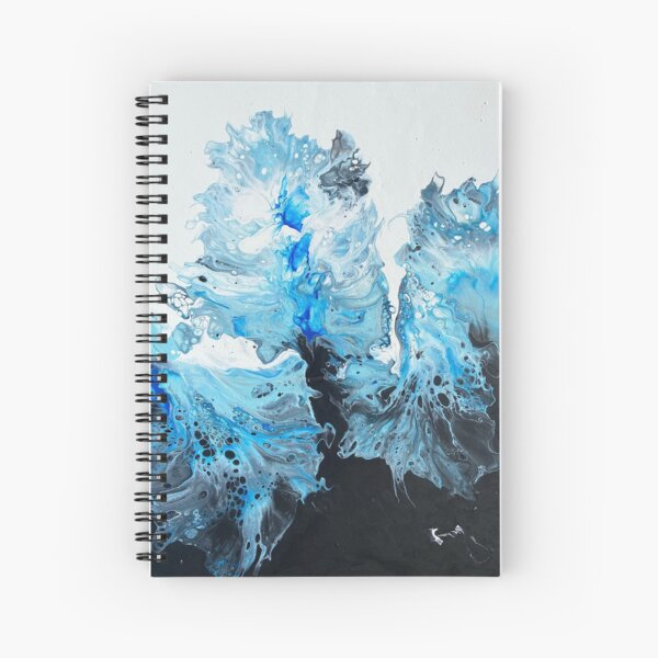 Blue, Sliver, Black and White Pour Painting - Hair Dryer Method - Spiral Notebook