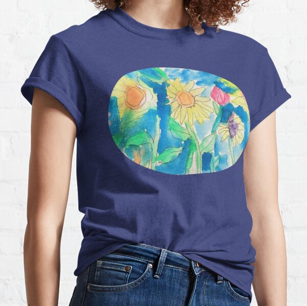 Summer Sunflower Garden In Watercolor and Ink Classic T-Shirt