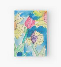 Summer Sunflower Garden In Watercolor and Ink Hardcover Journal
