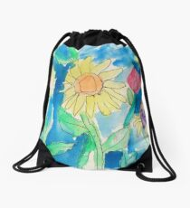 Summer Sunflower Garden In Watercolor and Ink Drawstring Bag