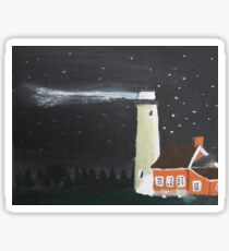 Peaceful Michigan Lighthouse At Night With Starlit Sky Sticker