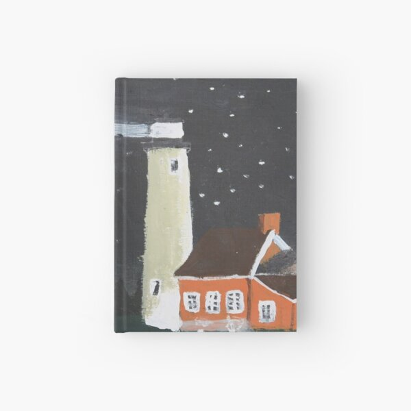 Peaceful Michigan Lighthouse At Night With Starlit Sky Hardcover Journal