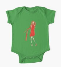 Girl in a Red Dress One Piece - Short Sleeve