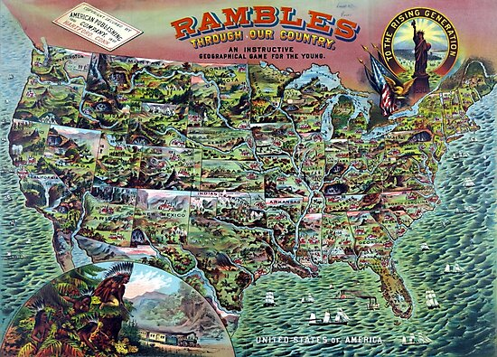 Vintage United States Map Rambles Travel by pdgraphics