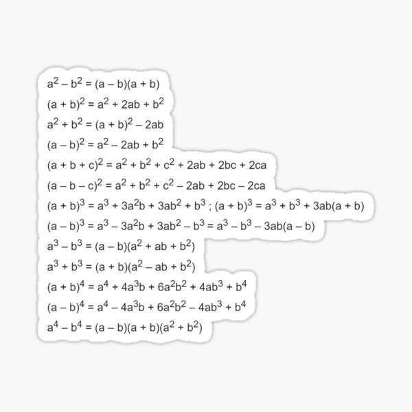 Important Formulas in Algebra Sticker