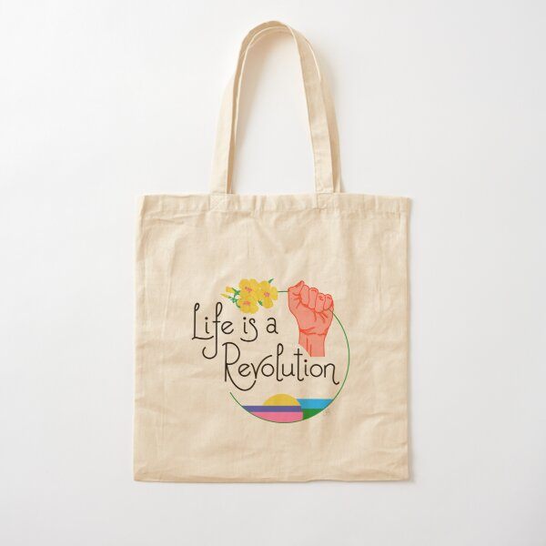 Life Is A Revolution White Cotton Tote Bag