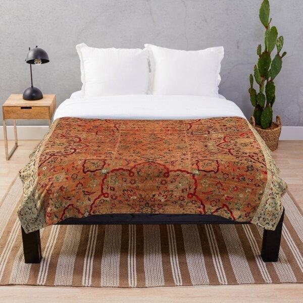 17th Century Velvet and Silk Carpet Print Throw Blanket