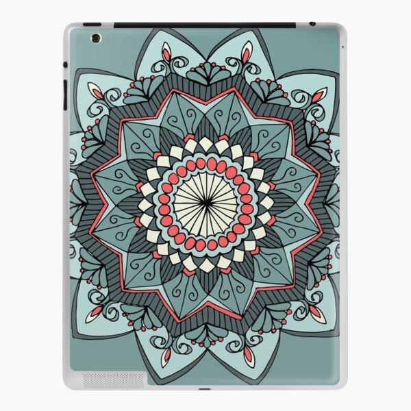 Tranquil Green and Red Hand-Drawn Mandala Design iPad Skin