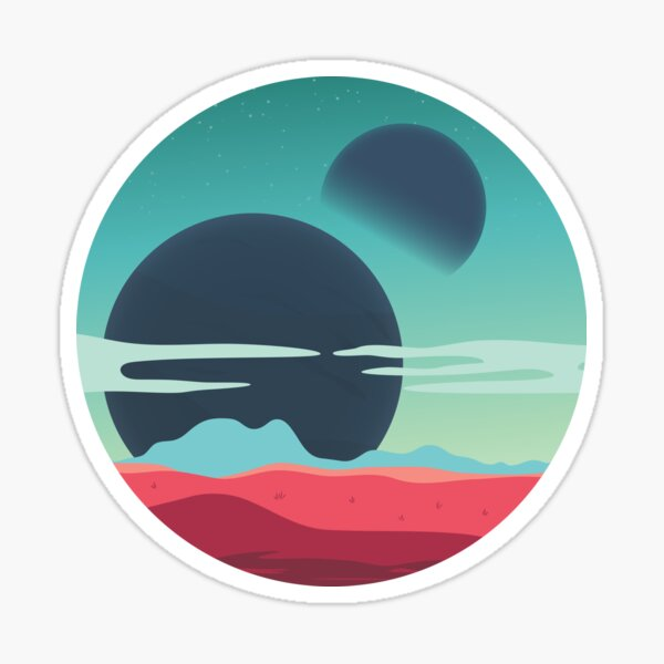 2 Moons Exoplanet Sticker
