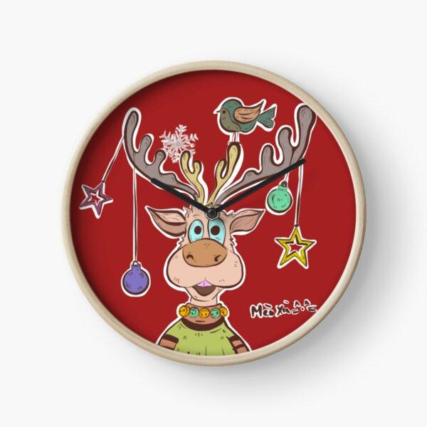 Happy Reindeer  Clock
