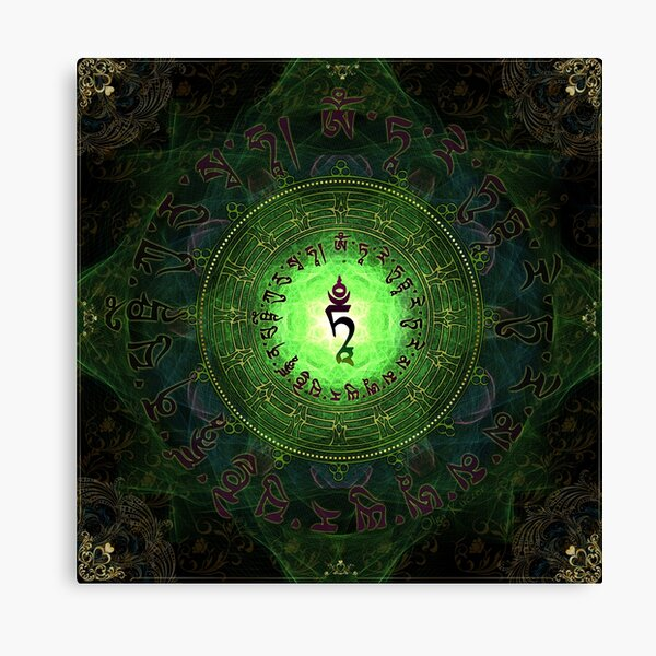 Green Tara Mantra- Protection from dangers and suffering. Canvas Print