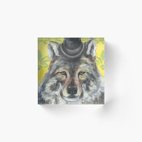 Wolf In A Bowler Cap Acrylic Block