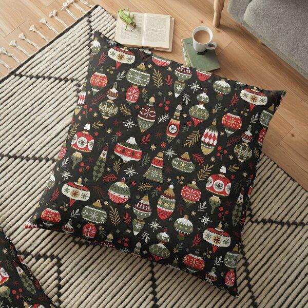 Vintage Christmas Baubles Floor Pillow