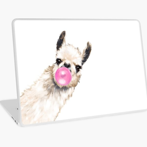 Sneaky Llama with Bubble Gum Laptop Skin