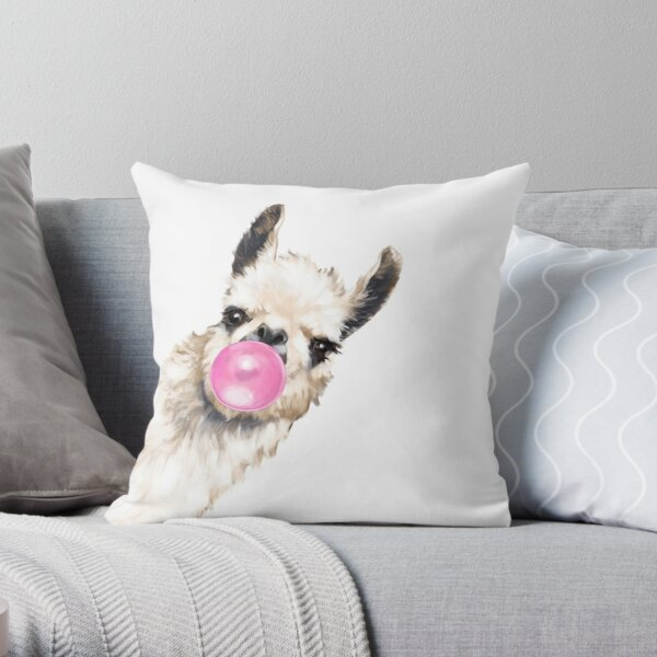 Sneaky Llama with Bubble Gum Throw Pillow