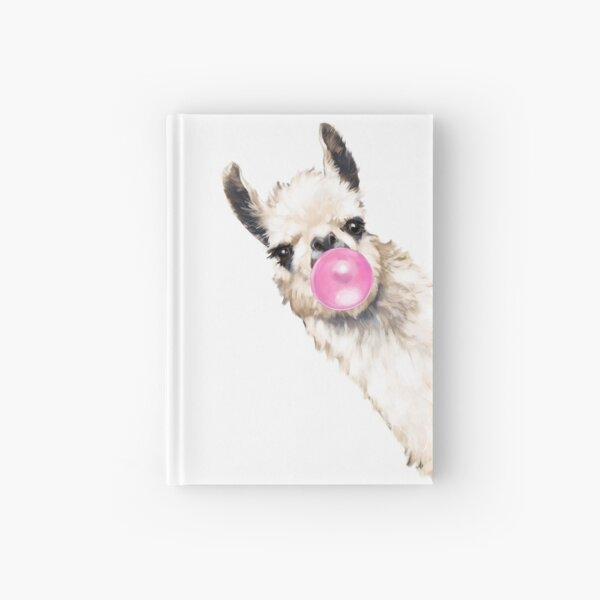 Sneaky Llama with Bubble Gum Hardcover Journal
