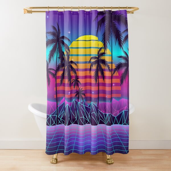 Radiant Sunset Synthwave Shower Curtain