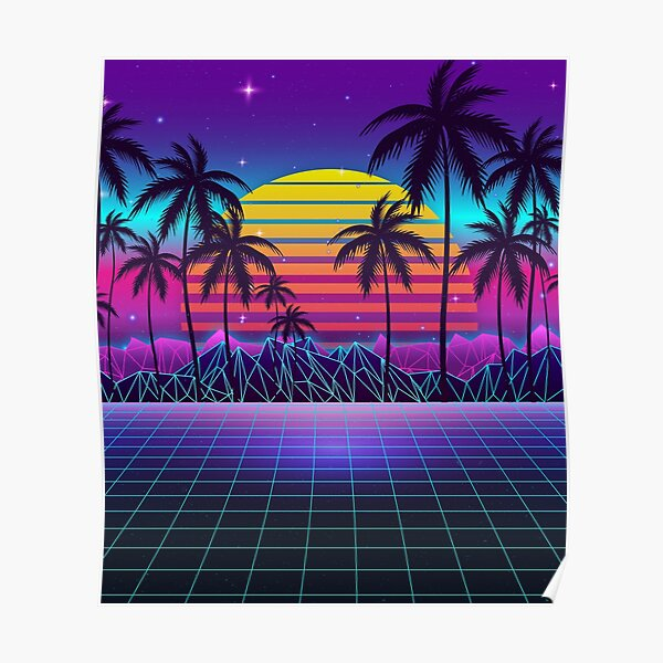 Radiant Sunset Synthwave Poster