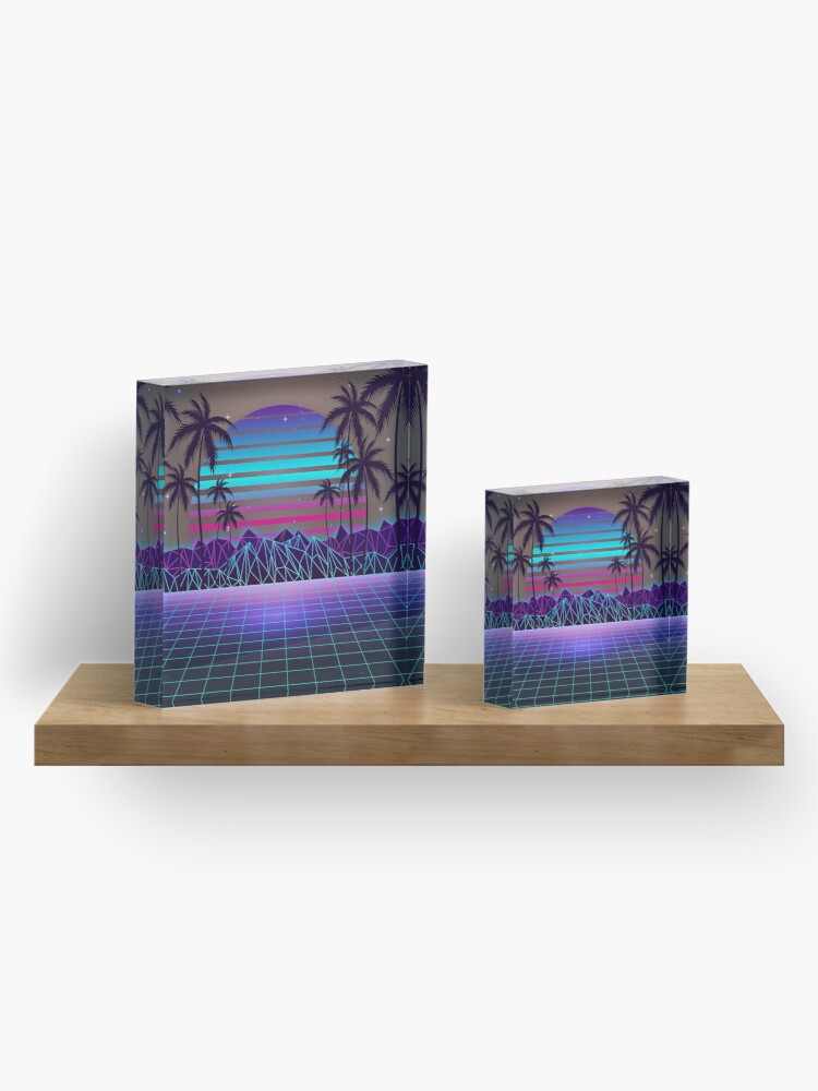 Alternate view of Fascinating Dusk Retrowave Acrylic Block