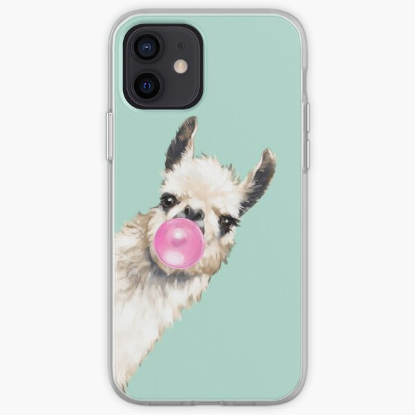Bubble Gum Sneaky Llama in Green iPhone Soft Case