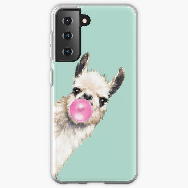Bubble Gum Sneaky Llama in Green Samsung Galaxy Soft Case