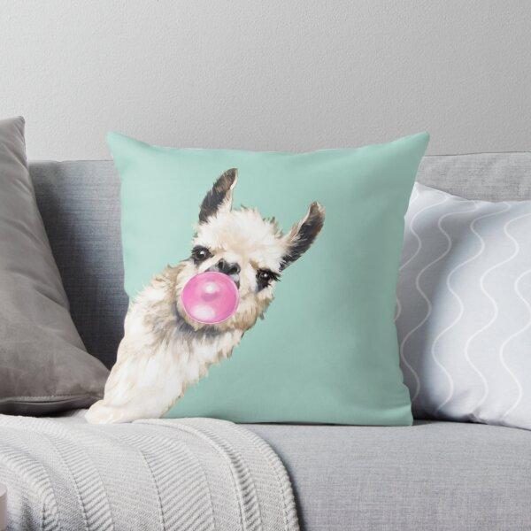 Bubble Gum Sneaky Llama in Green Throw Pillow