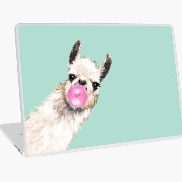 Bubble Gum Sneaky Llama in Green Laptop Skin