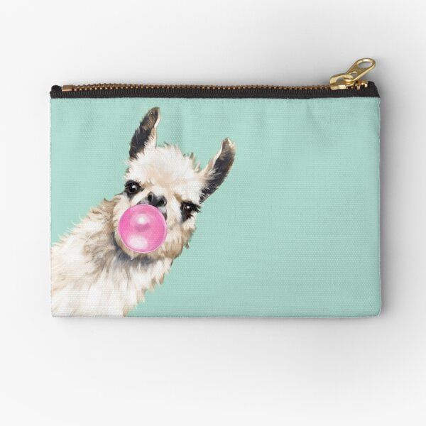 Bubble Gum Sneaky Llama in Green Zipper Pouch