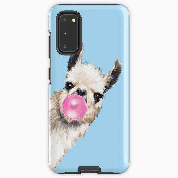 Bubble Gum Sneaky Llama in Blue Samsung Galaxy Tough Case