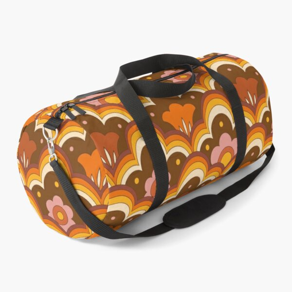 70s 60s retro Psychedelic Flower Power, Floral Pattern Duffle Bag
