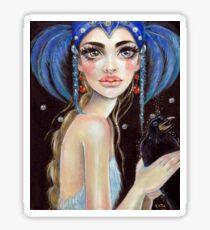 Lenore & the Three Eyed Raven, Original art, PopSurrealism Sticker