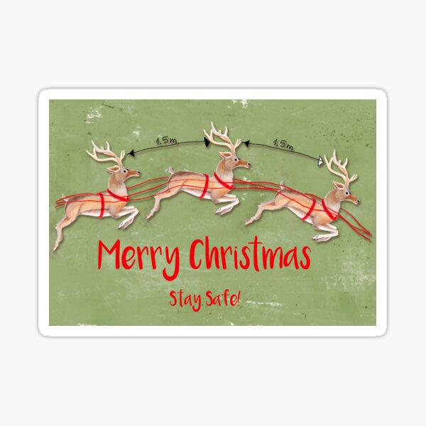 Marry Christmas reindeer greeting card (green) Sticker