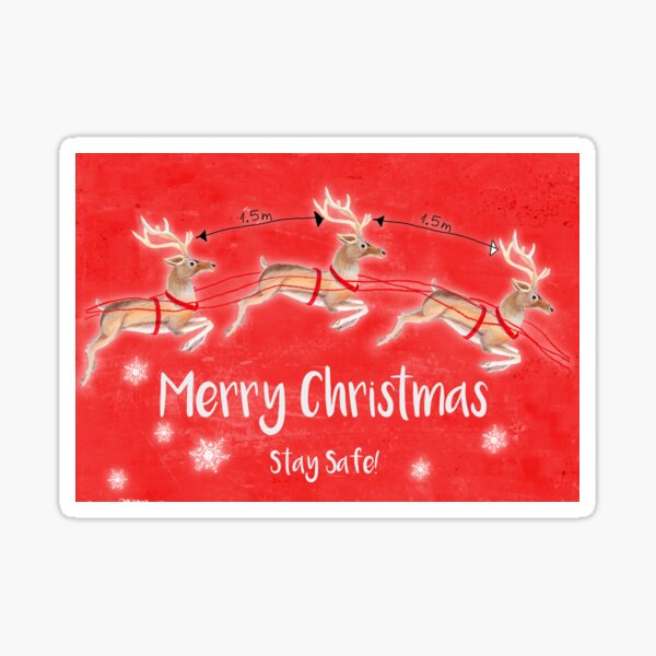 Marry Christmas reindeers (red) Sticker