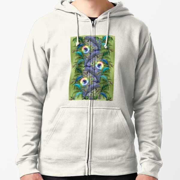 tropical dolphin delight Zipped Hoodie