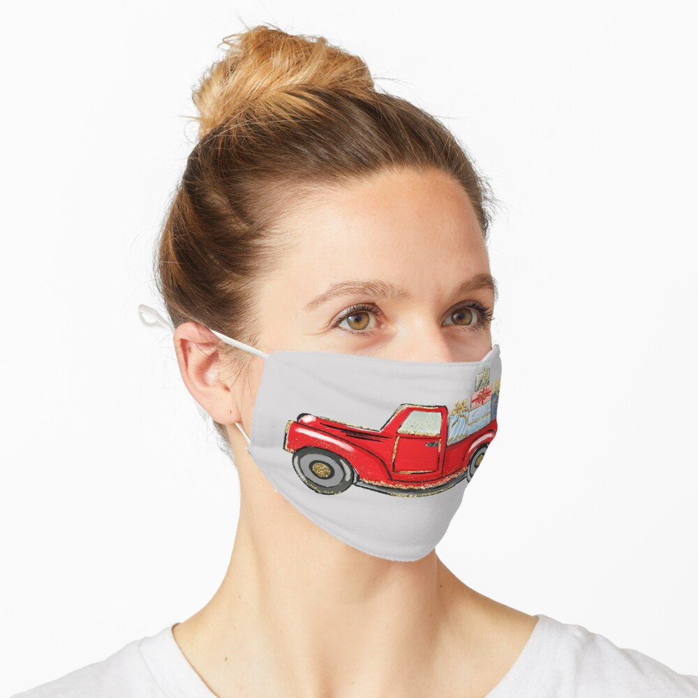 christmas red truck with awards,merry christmas Mask