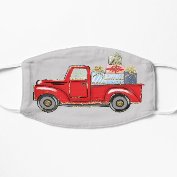 christmas red truck with awards,merry christmas Flat Mask
