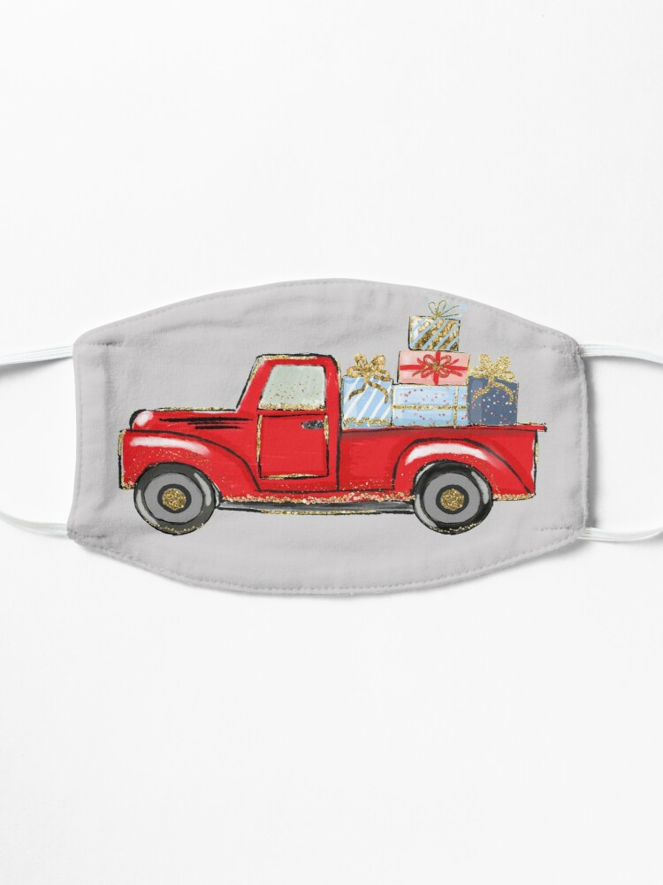 Alternate view of christmas red truck with awards,merry christmas Mask