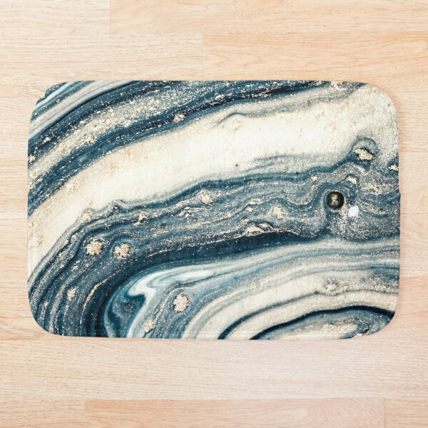 Blue Grey Abstract Marble Pattern Bath Mat