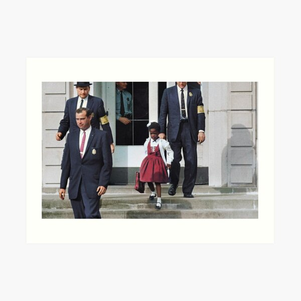 Ruby Bridges, escorted by U.S. Marshals to attend an all-white school, 1960 Art Print