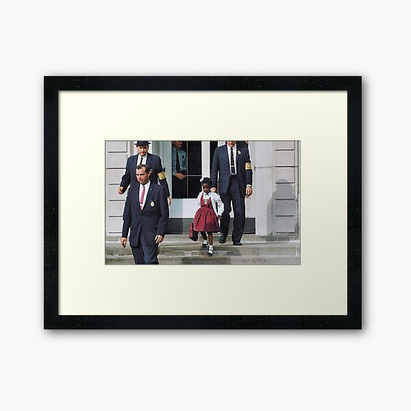 Ruby Bridges, escorted by U.S. Marshals to attend an all-white school, 1960 Framed Art Print