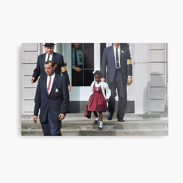 Ruby Bridges, escorted by U.S. Marshals to attend an all-white school, 1960 Metal Print