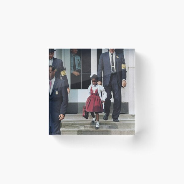 Ruby Bridges, escorted by U.S. Marshals to attend an all-white school, 1960 Acrylic Block