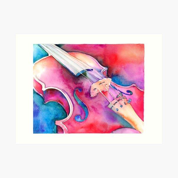 Colorful Violin Watercolor Art Print